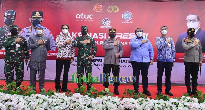 Panglima TNI Bersama Kapolri Tinjau KSPSI PT. Kahatex, Sumedang Jawa Barat